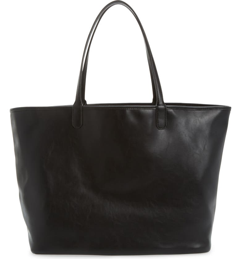 MALI + LILI Reversible Vegan Leather Tote, Main, color, BLACK/BLACK