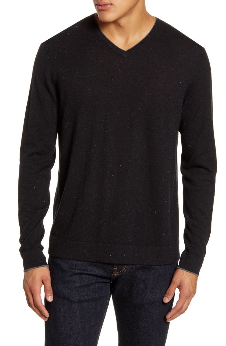 NORDSTROM SIGNATURE Cashmere V-Neck Sweater, Main, color, BLACK CAVIAR NEP