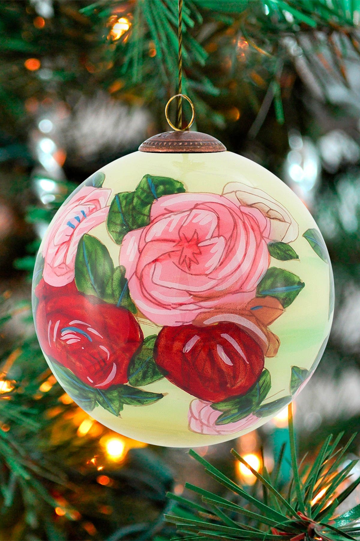 "Image of Overstock Art ""Discarded Roses"" Pierre-Auguste Renoir Hand Painted Glass Ornament Collection - Set of 4"
