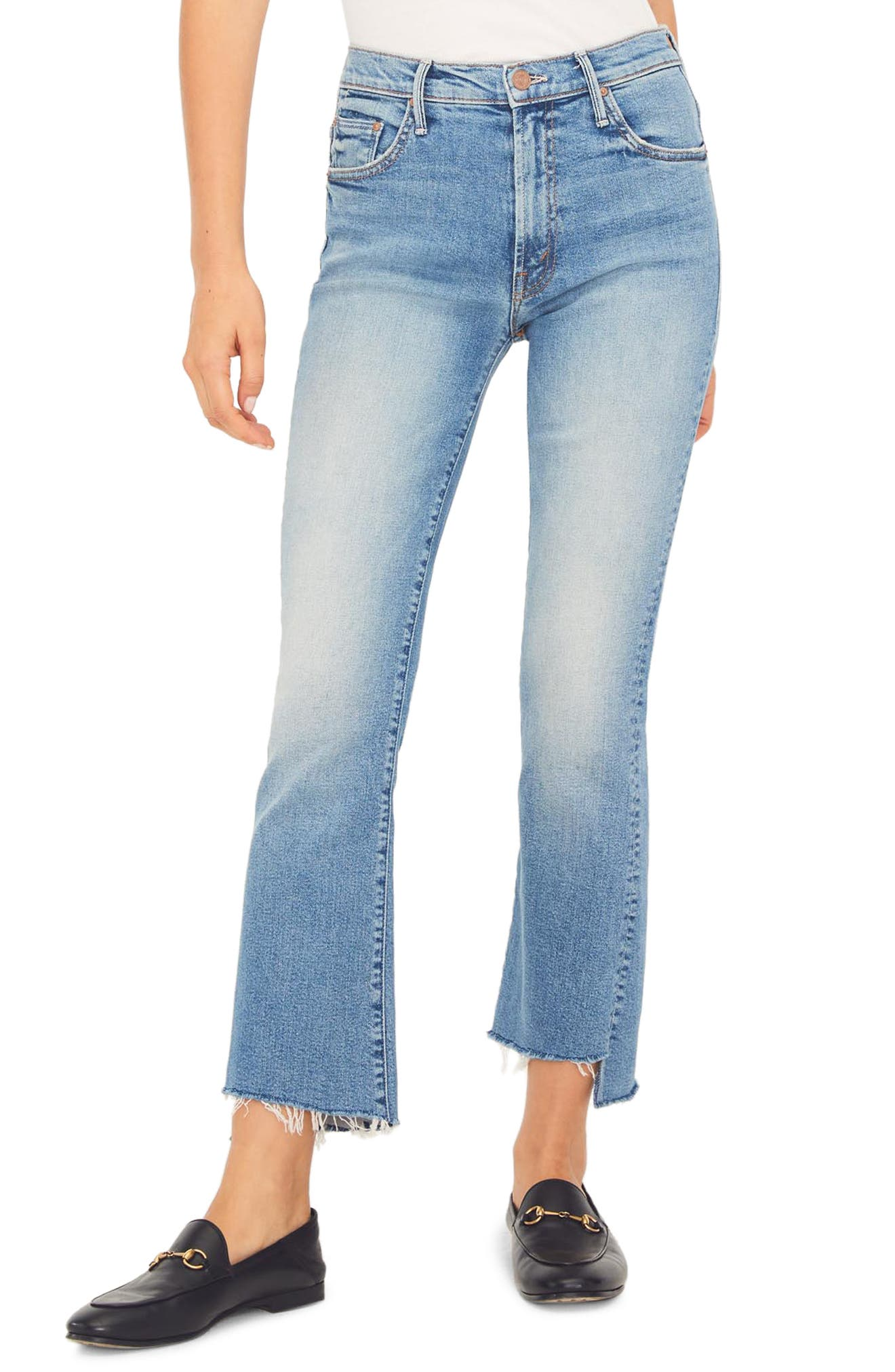 MOTHER The Insider High Waist Crop Step Fray Jeans (Shoot to Thrill)