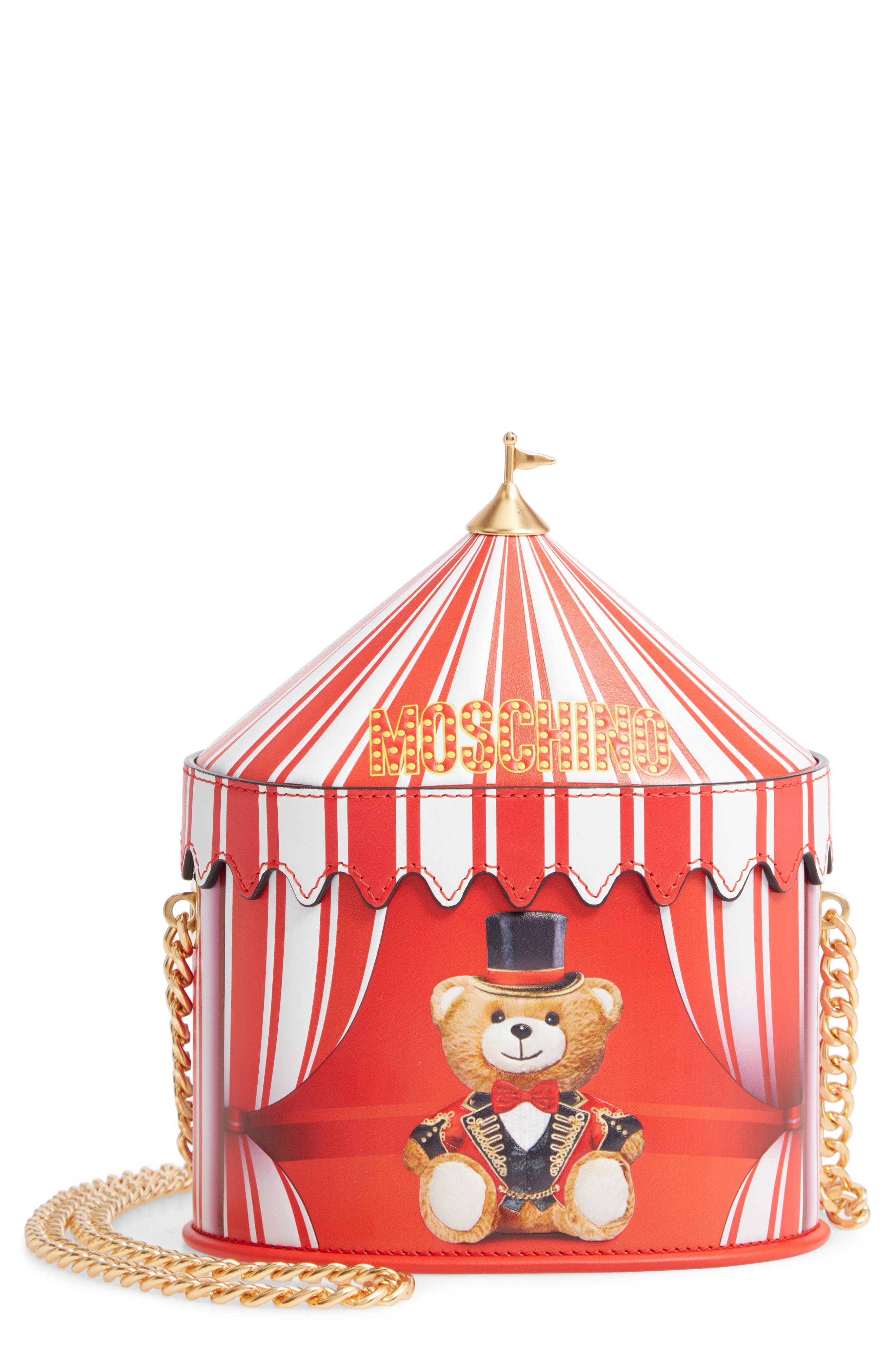Circus Tent Leather Shoulder Bag, Main, color, RED MULTI
