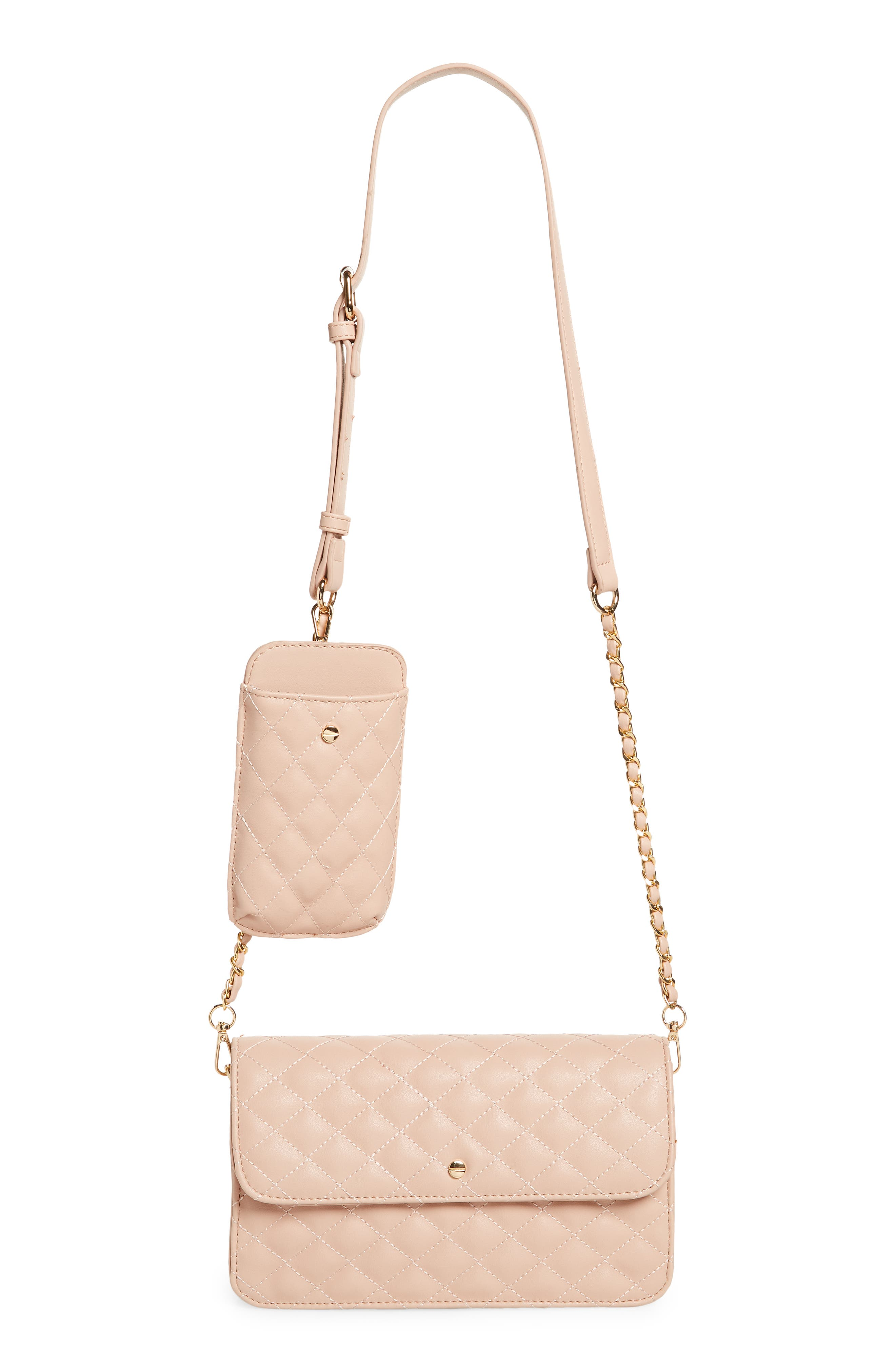 Mali + Lili Winslet Quilted Vegan Leather Crossbody Bag With Detachable Phone Case