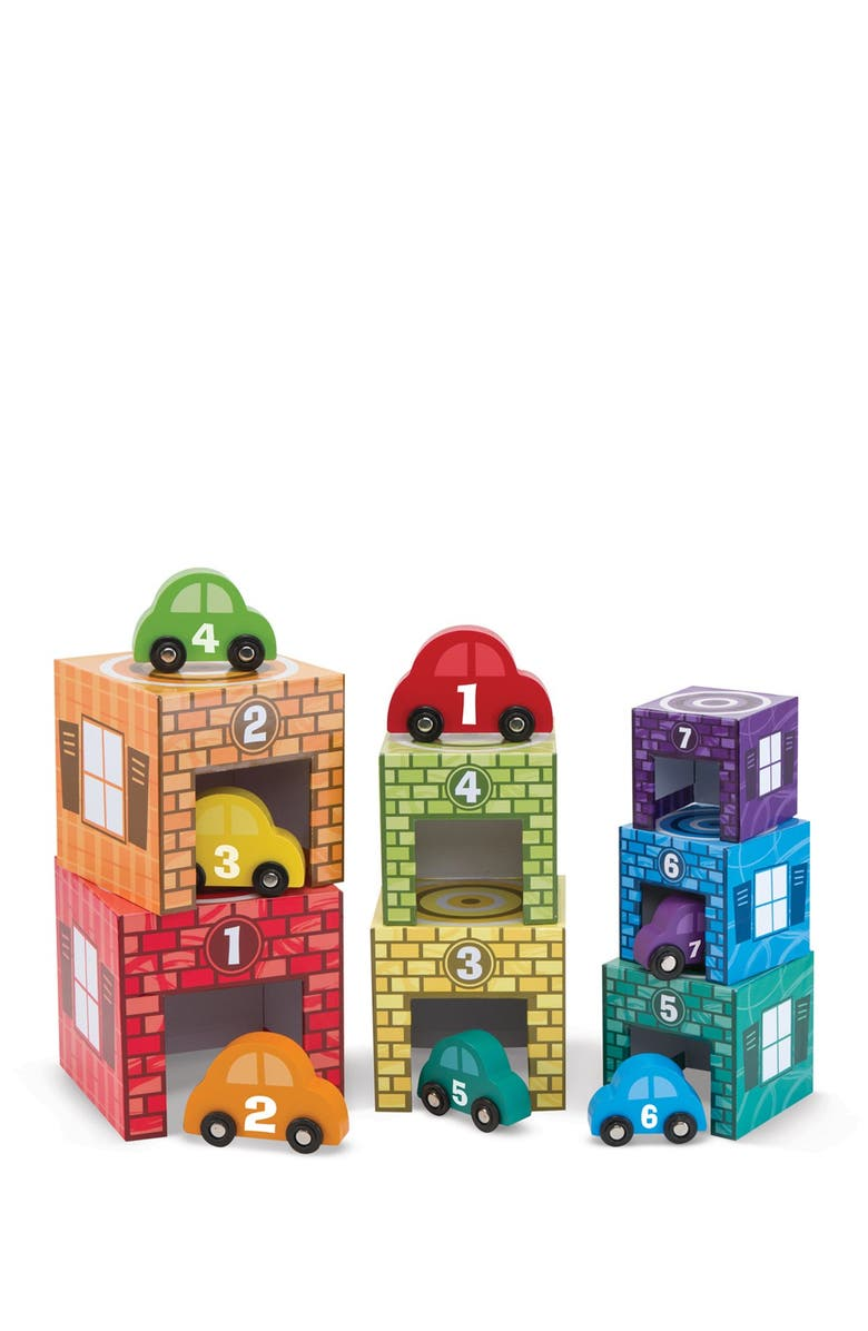 MELISSA AND DOUG Nesting & Sorting Garages & Cars, Main, color, NO COLOR