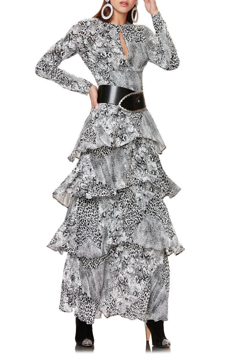 AFRM Kai Long Sleeve Ruffle Maxi Dress, Main, color, NOIR ANIMAL
