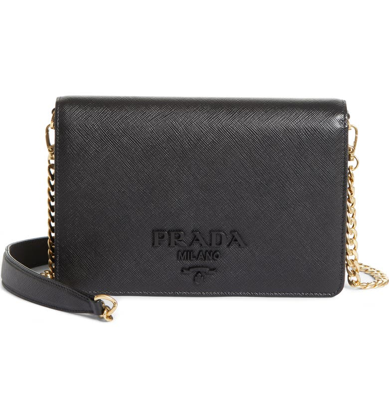 PRADA Small Monochrome Crossbody Bag, Main, color, NERO