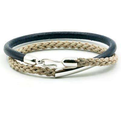 Caputo & Co. Leather & Jute Wrap Bracelet