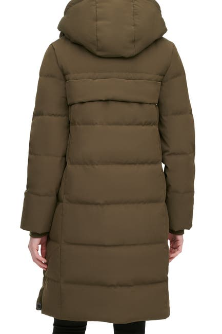 Image of DKNY Center Zip Down Coat With Hood