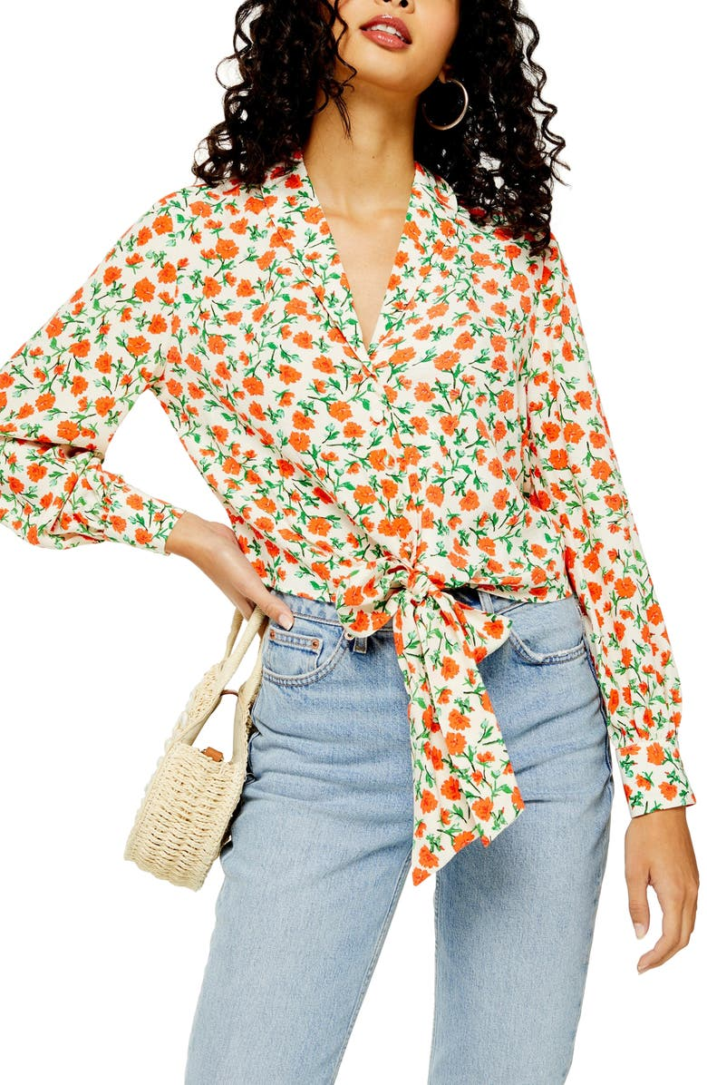 TOPSHOP Floral Knot Front Shirt, Main, color, CREAM MULTI