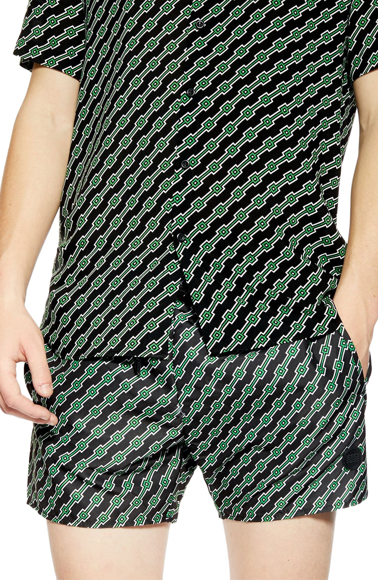 ,                             Geo Print Co-Ord Swim Trunks,                             Main thumbnail 1, color,                             BLACK MULTI