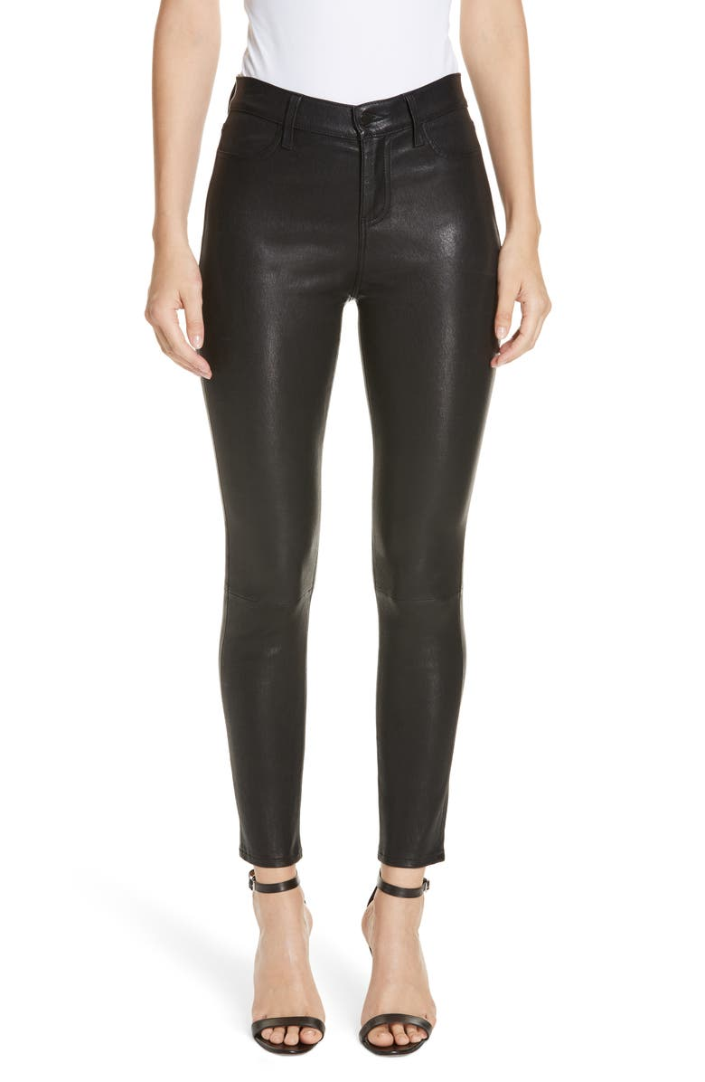 L'AGENCE LAGENCE Adelaide High Waist Crop Leather Jeans, Main, color, NOIR