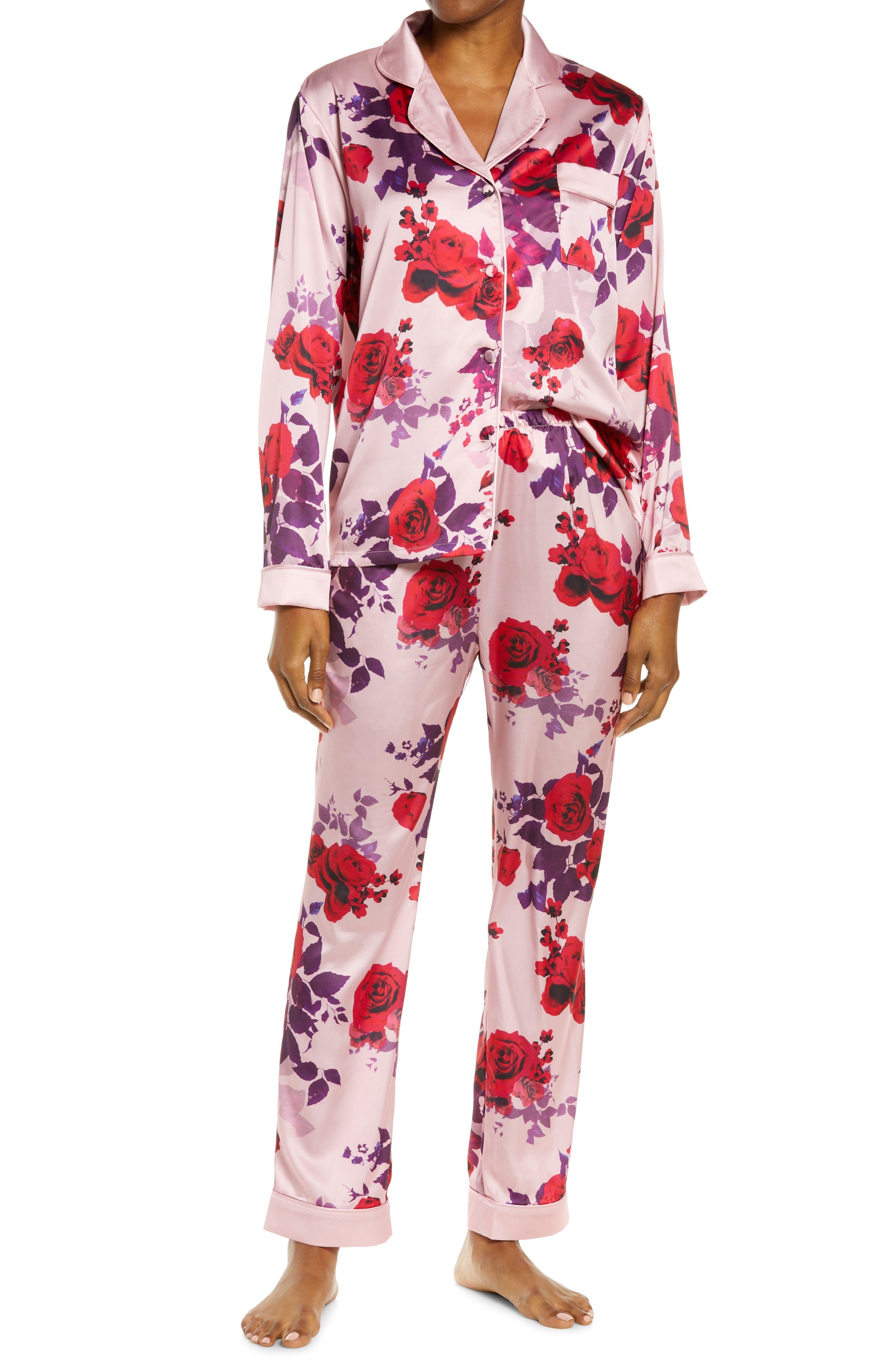 Floral Print Satin Pajamas