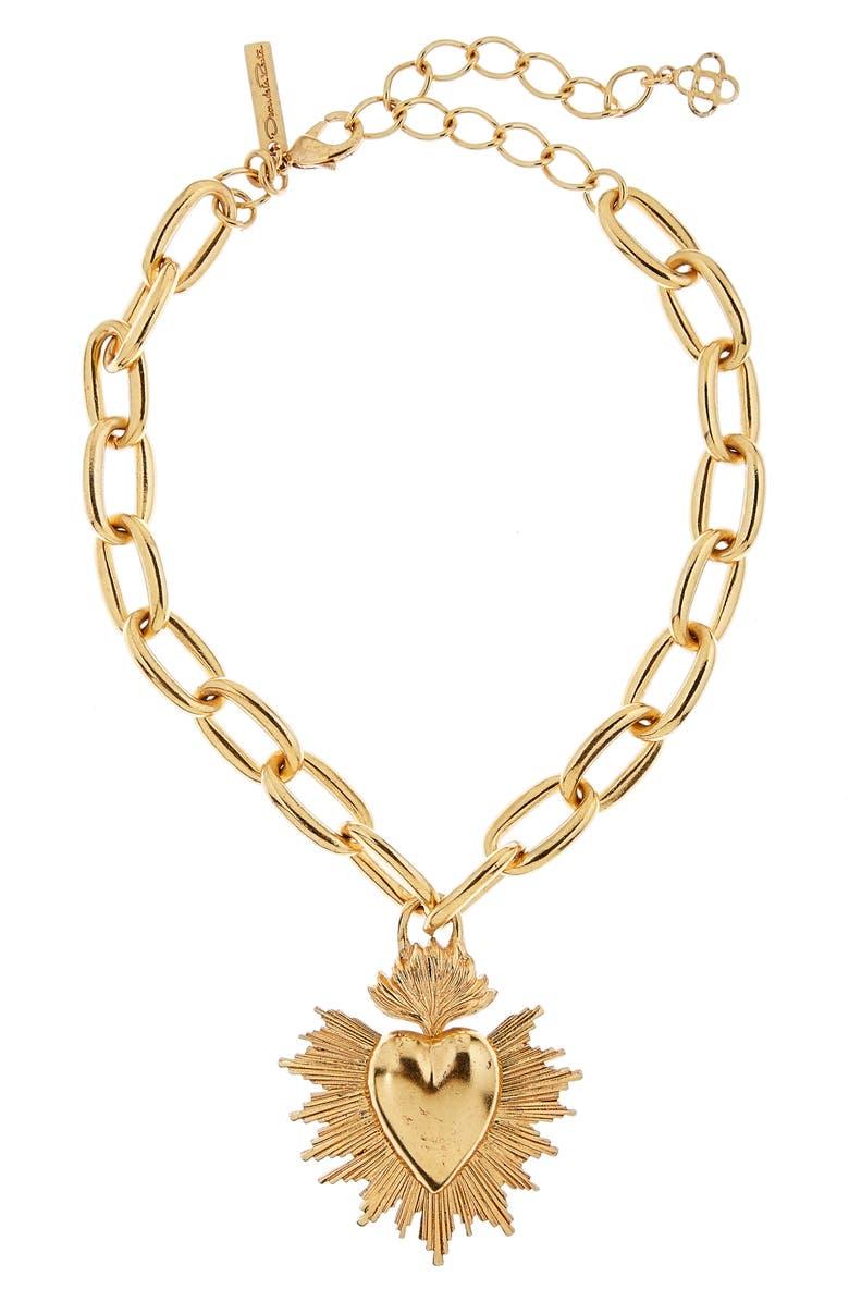 OSCAR DE LA RENTA Sacred Heart Pendant Necklace, Main, color, 710