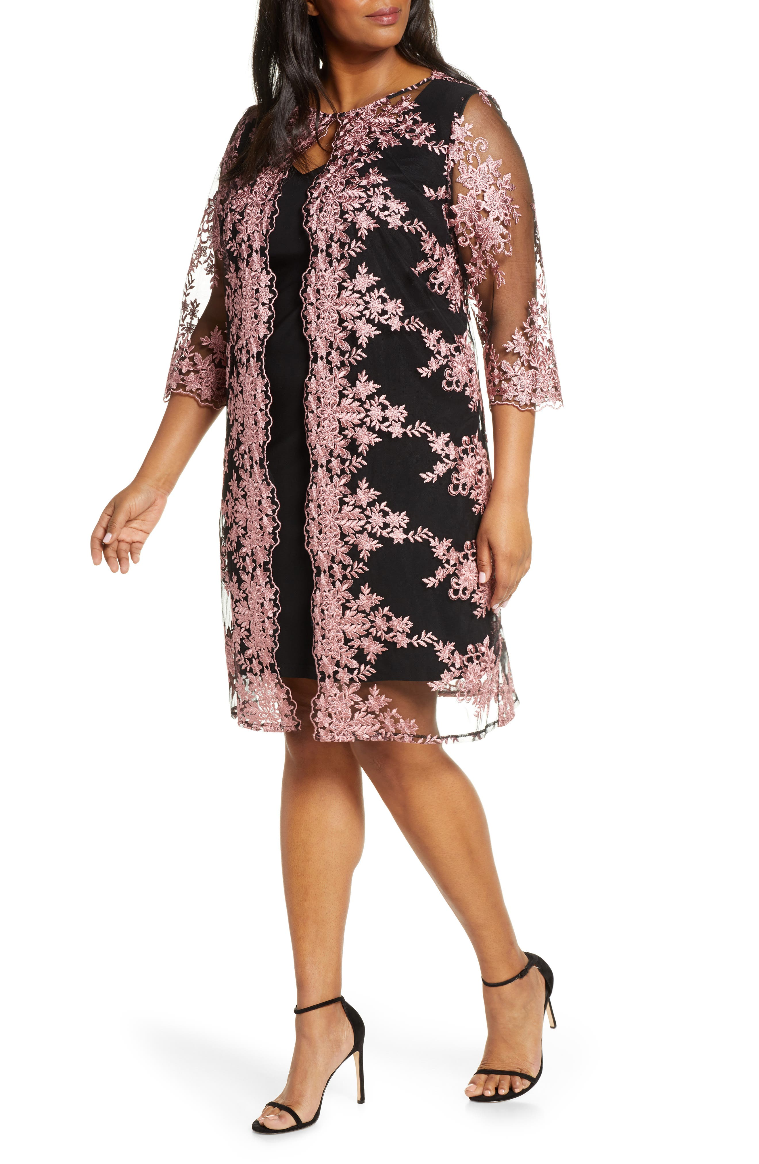 Plus Size Alex Evenings Embroidered Chiffon Overlay Cocktail Dress, Black
