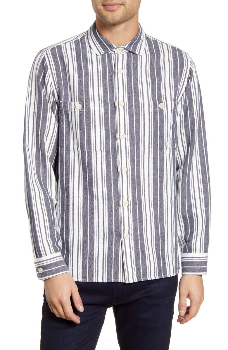 WAX LONDON Whiting Stripe Cotton & Linen Button-Up Shirt, Main, color, EDMONTON STRIPE