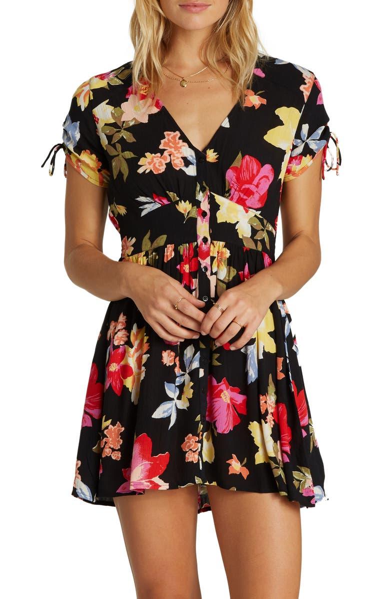 BILLABONG Twirl Twist Floral Print Minidress, Main, color, 001