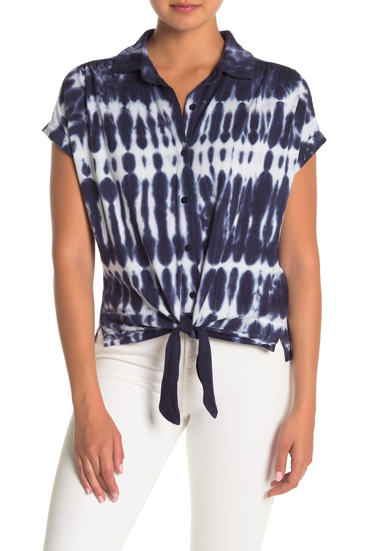 Image of C & C California Tie-Dye Knotted Top