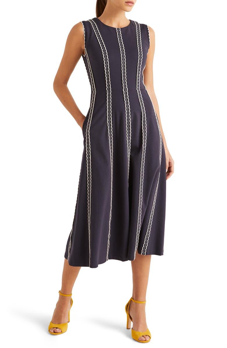 BODEN Eve Scallop Stripe Ponte Knit Midi Dress, Main, color, 414