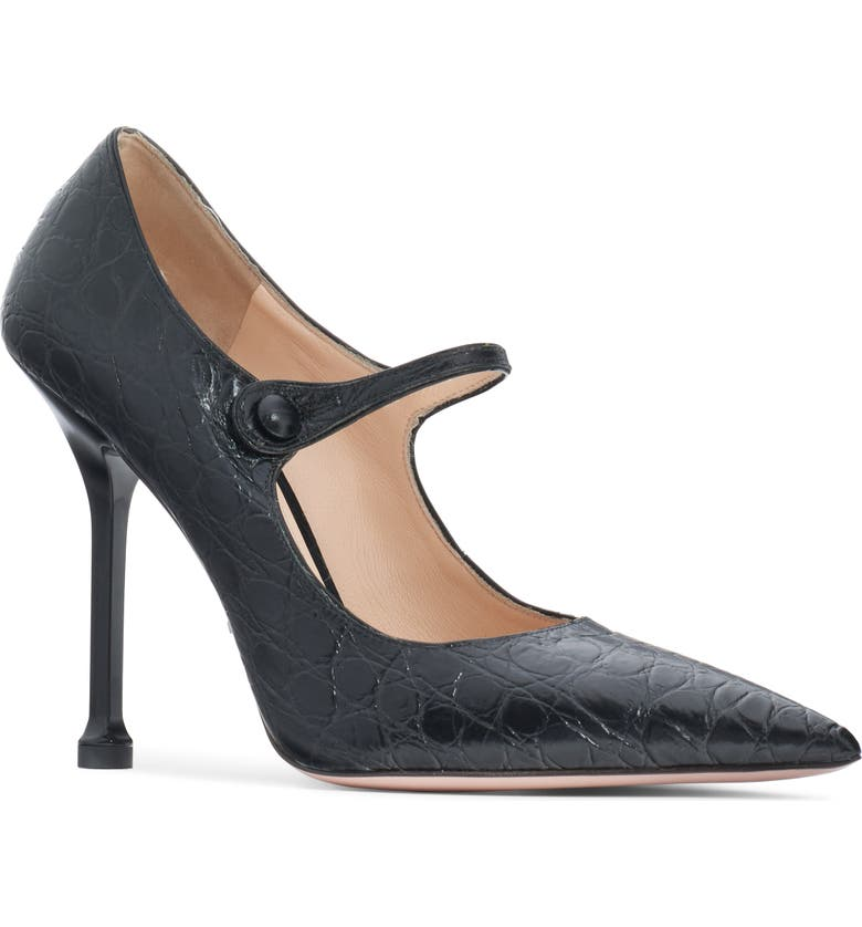 PRADA Pin Heel Mary Jane Pump, Main, color, BLACK