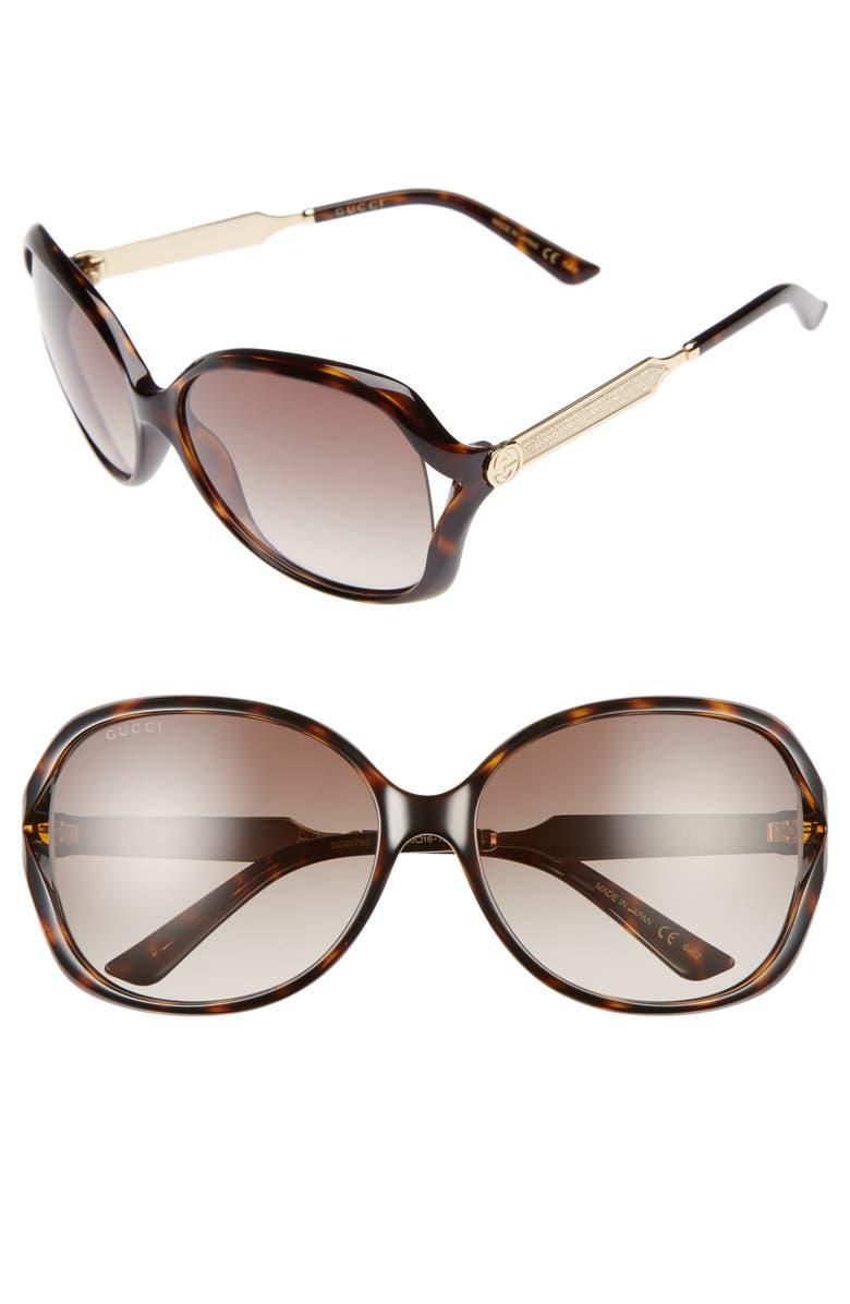 GUCCI 60mm Open Temple Oval Sunglasses, Main, color, HAVANA/ BROWN