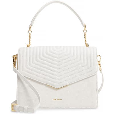 Ted Baker London Brittni Top Handle Leather Envelope Bag - Ivory