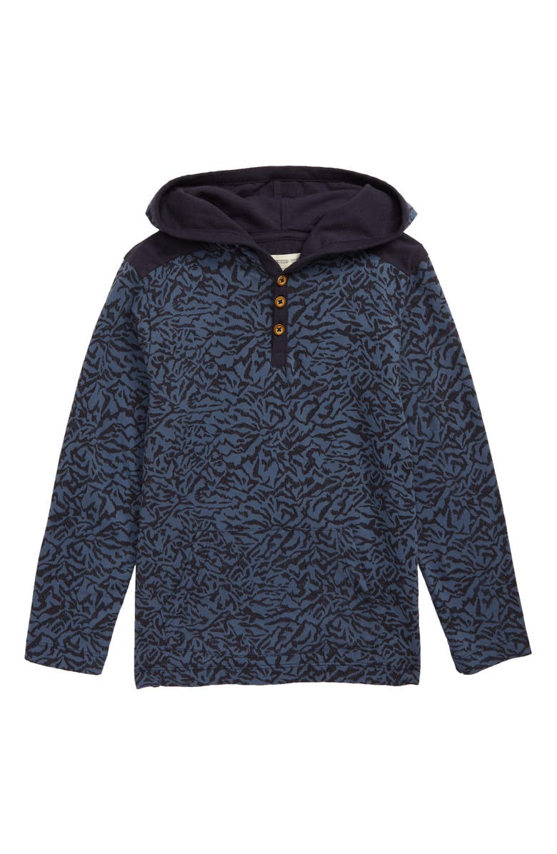 TUCKER + TATE Henley Pullover Hoodie, Main, color, BLUE CHINOISE SKETCH COLLAGE