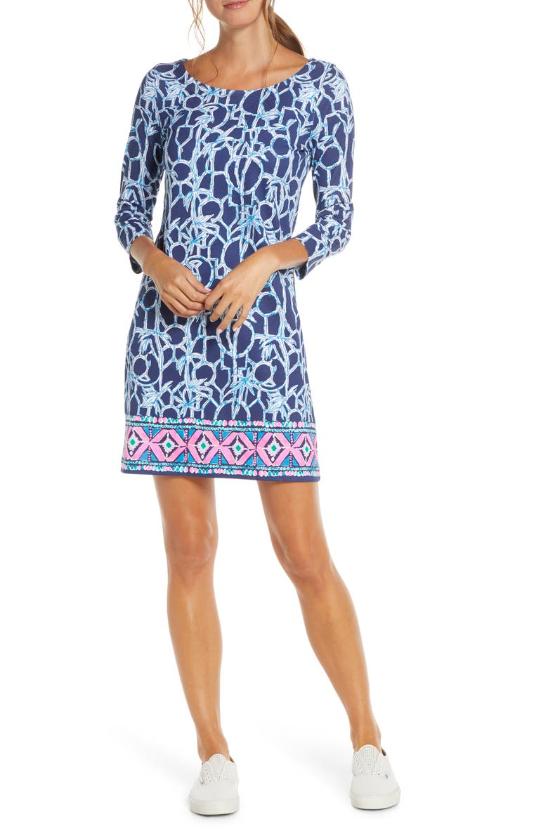 LILLY PULITZER<SUP>®</SUP> Hollee T-Shirt Dress, Main, color, HIGH TIDE NAVY LUCKY BAMBOO