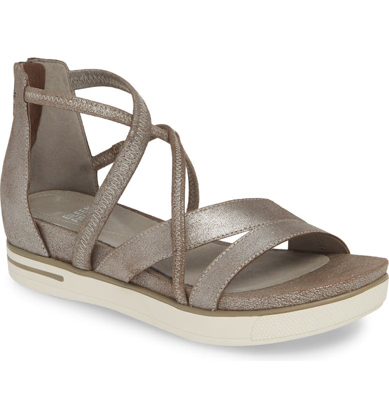 EILEEN FISHER Skip Strappy Platform Sandal, Main, color, MICA SUEDE