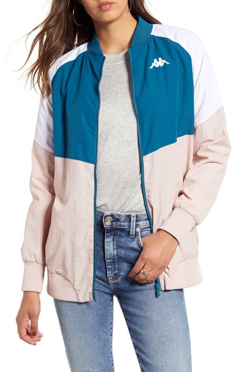KAPPA Authentic 90 Bernina Nylon Track Jacket, Main, color, BLUE PETROL/ PINK/ WHITE