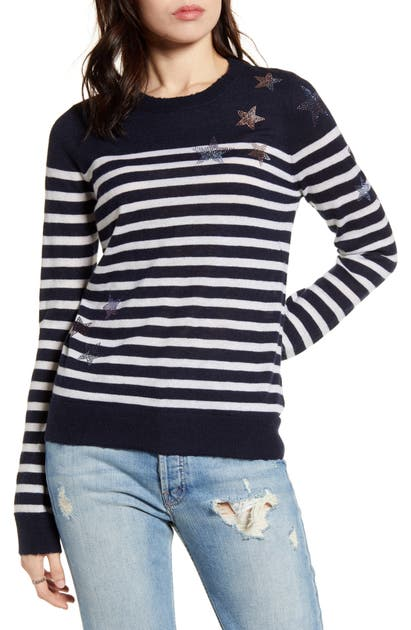 Zadig & Voltaire Sweaters STARS & STRIPES EMBELLISHED CASHMERE SWEATER