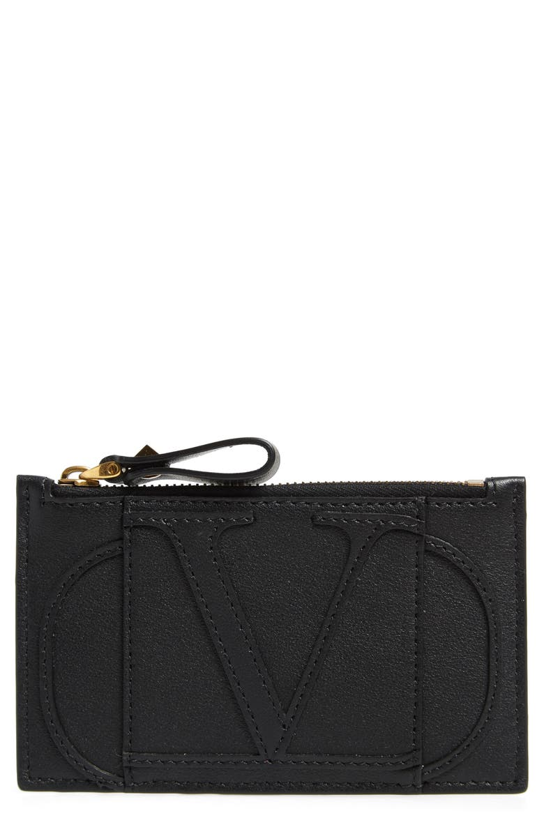 VALENTINO GARAVANI Go Logo Leather Card Case, Main, color, NERO
