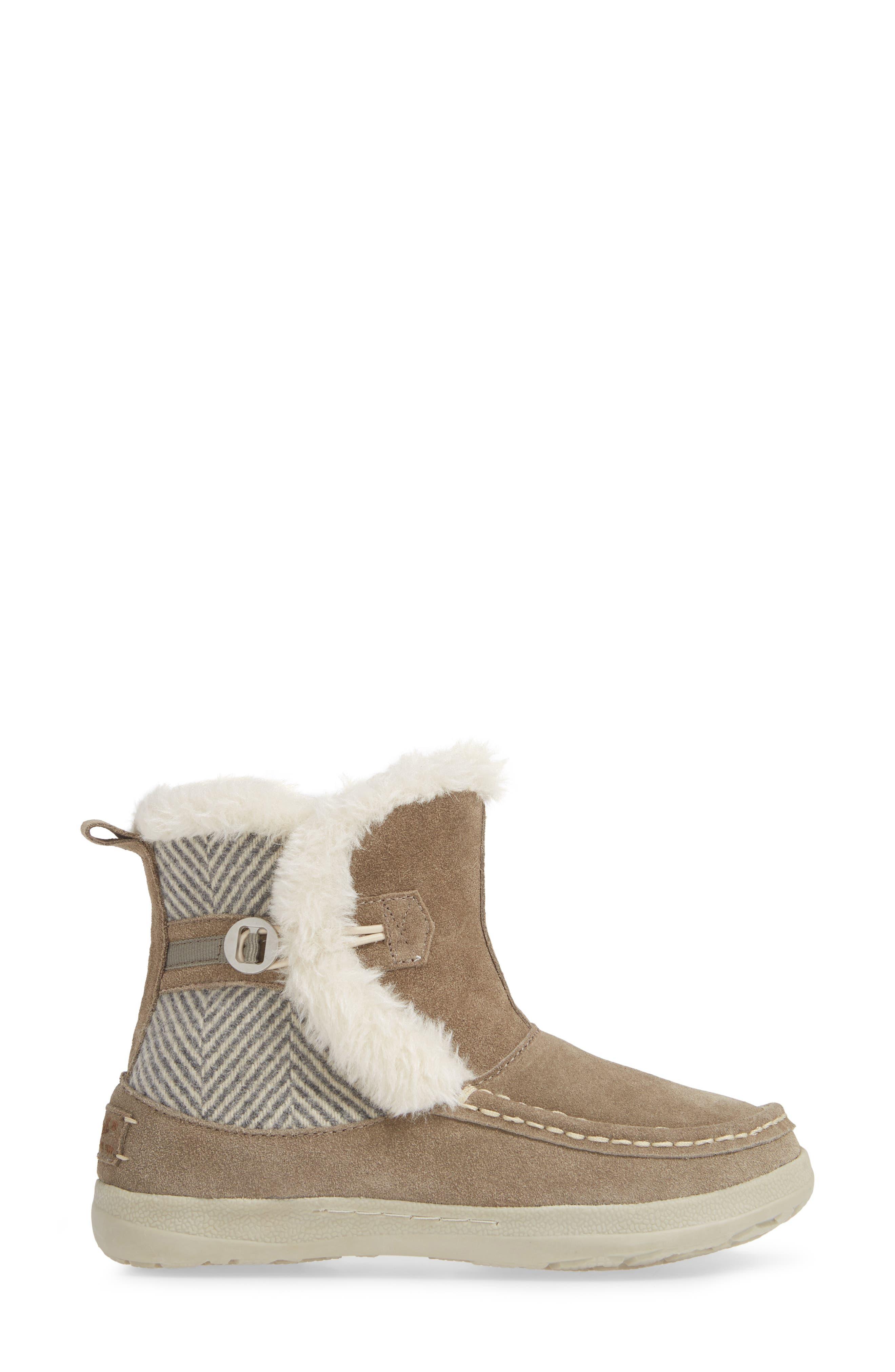 ,                             Pine Creek II Faux Fur Trim Boot,                             Alternate thumbnail 3, color,                             STEEL/ HERRINGBONE SUEDE