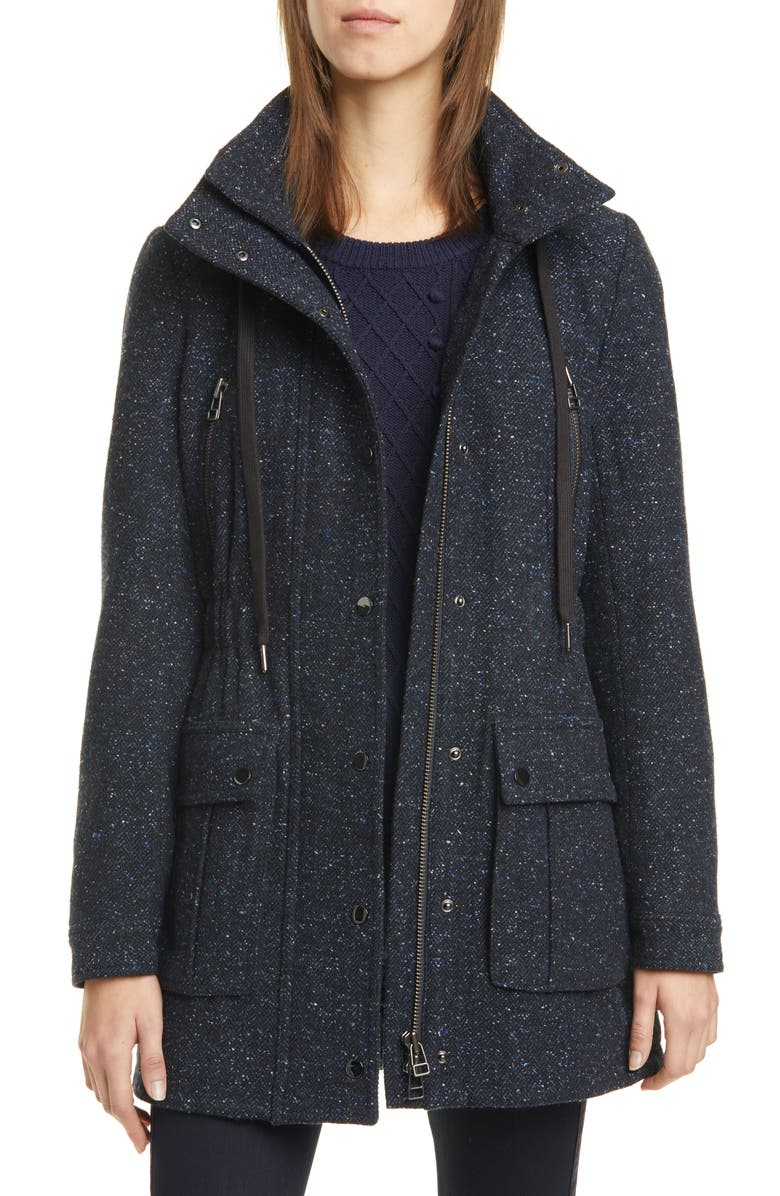 VERONICA BEARD Tawny Wool Blend Parka, Main, color, NAVY