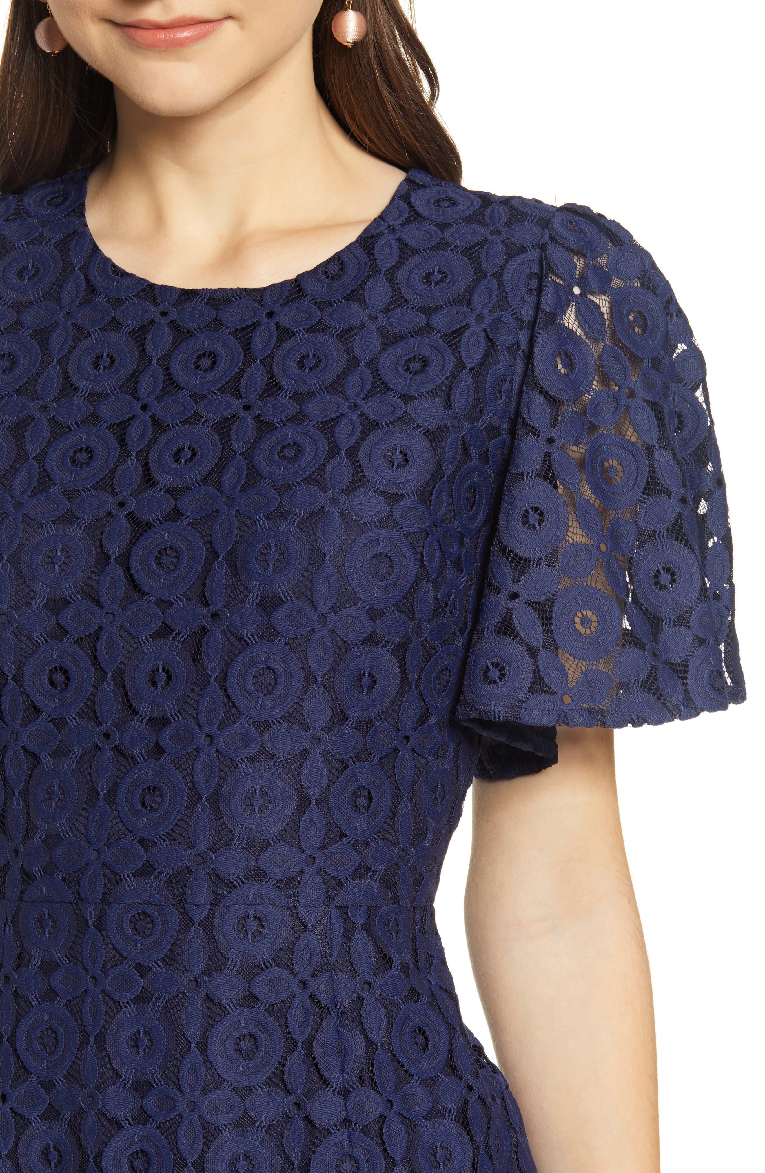 ,                             Flutter Sleeve Lace Sheath Dress,                             Alternate thumbnail 5, color,                             NAVY PEACOAT