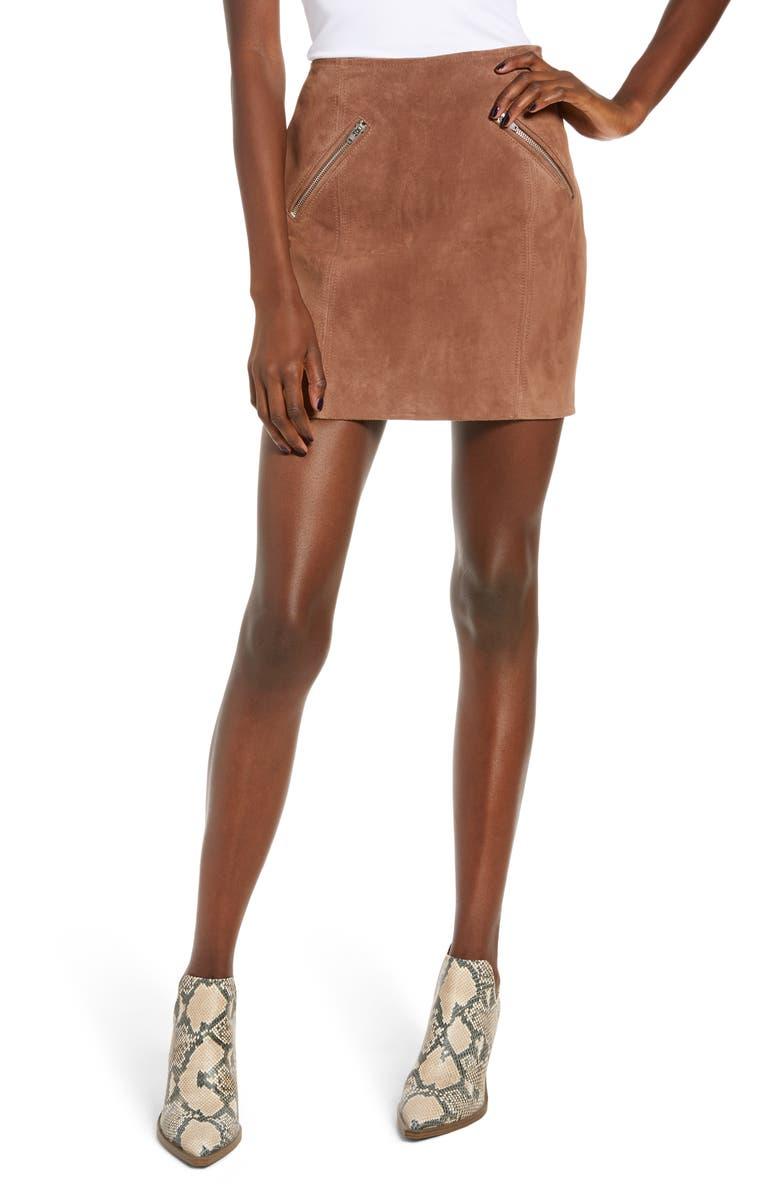 BLANKNYC Suede Miniskirt, Main, color, COFFEE BEAN