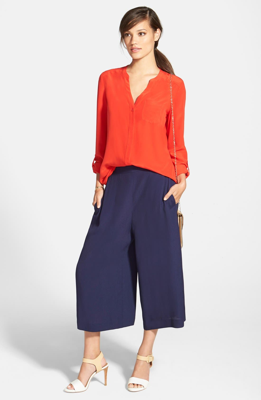 ,                             Collarless Silk Blouse,                             Alternate thumbnail 72, color,                             611
