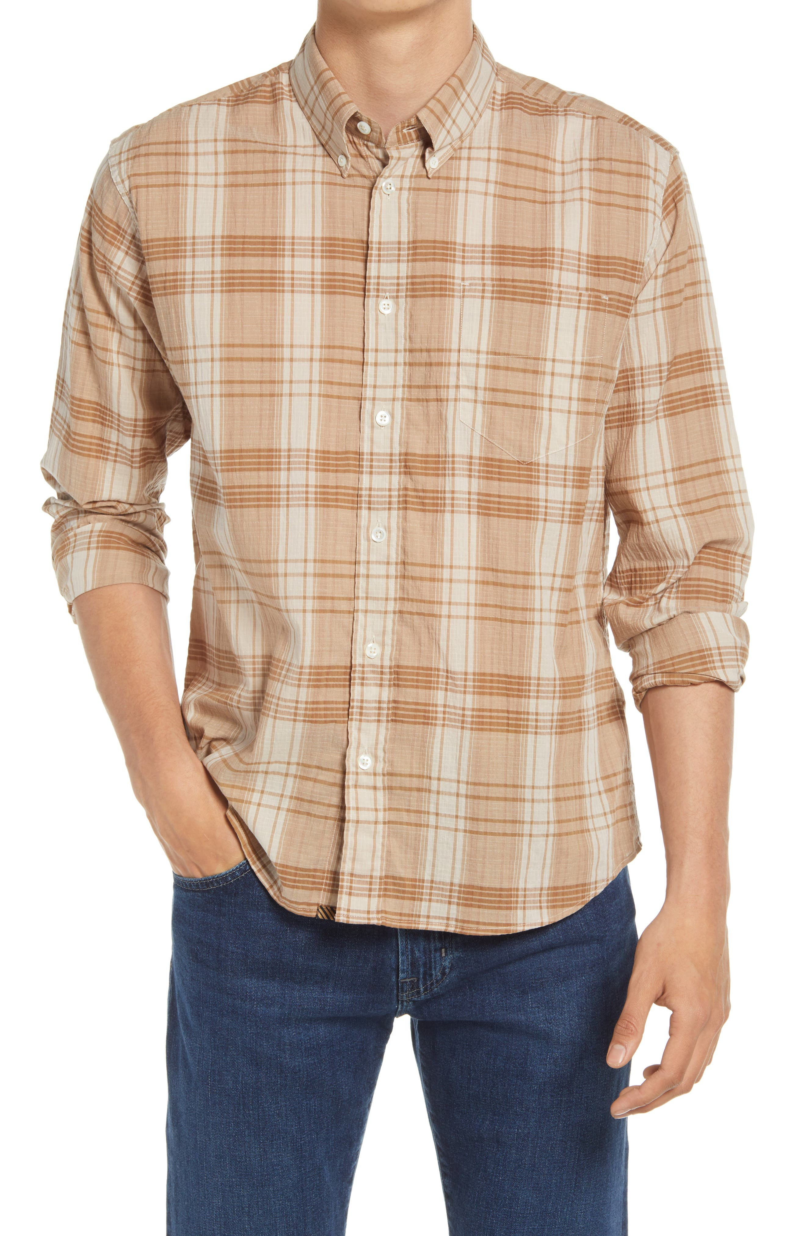 Offset Pocket Check Button-Down Shirt