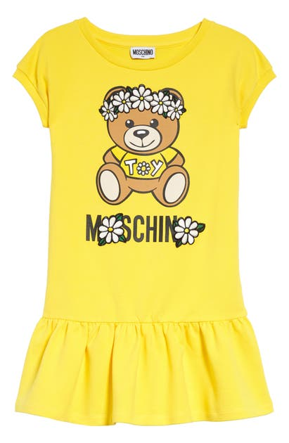 Moschino KIDS' DAISY TOY BEAR PRINT DROP WAIST SWEATSHIRT DRESS
