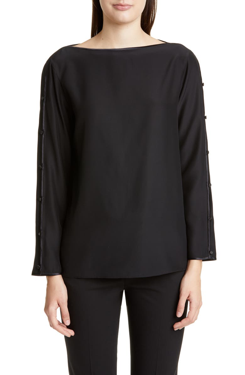 LAFAYETTE 148 NEW YORK Georgina Button Sleeve Silk Blouse, Main, color, BLACK