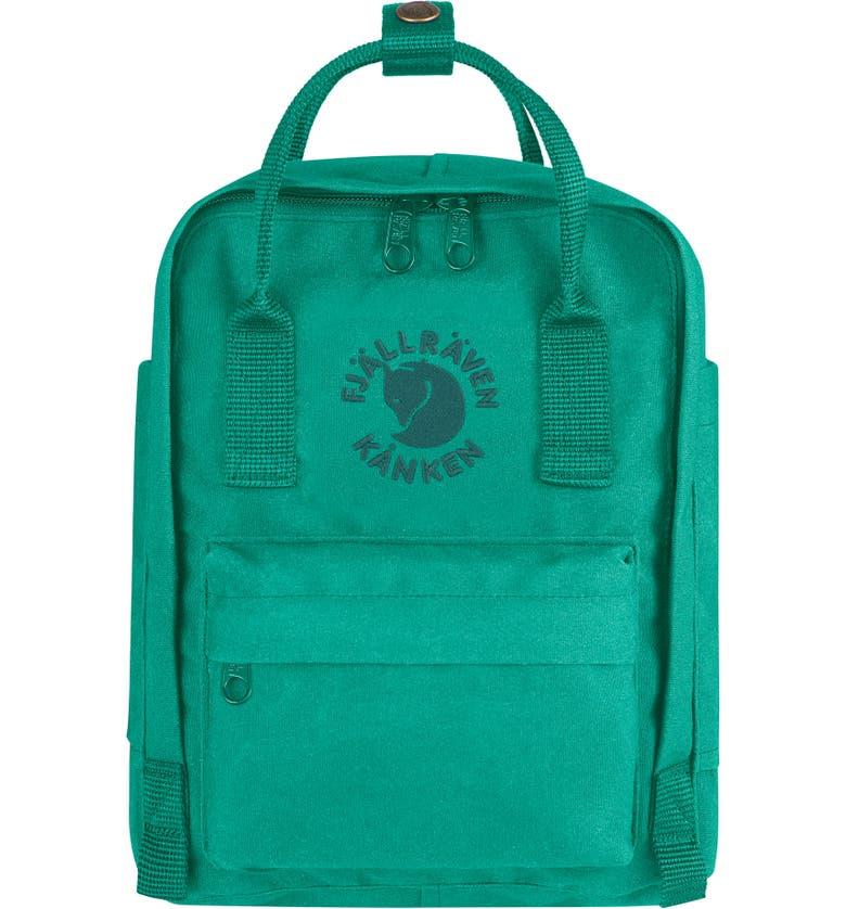 FJÄLLRÄVEN Mini Re-Kånken Water Resistant Backpack, Main, color, EMERALD