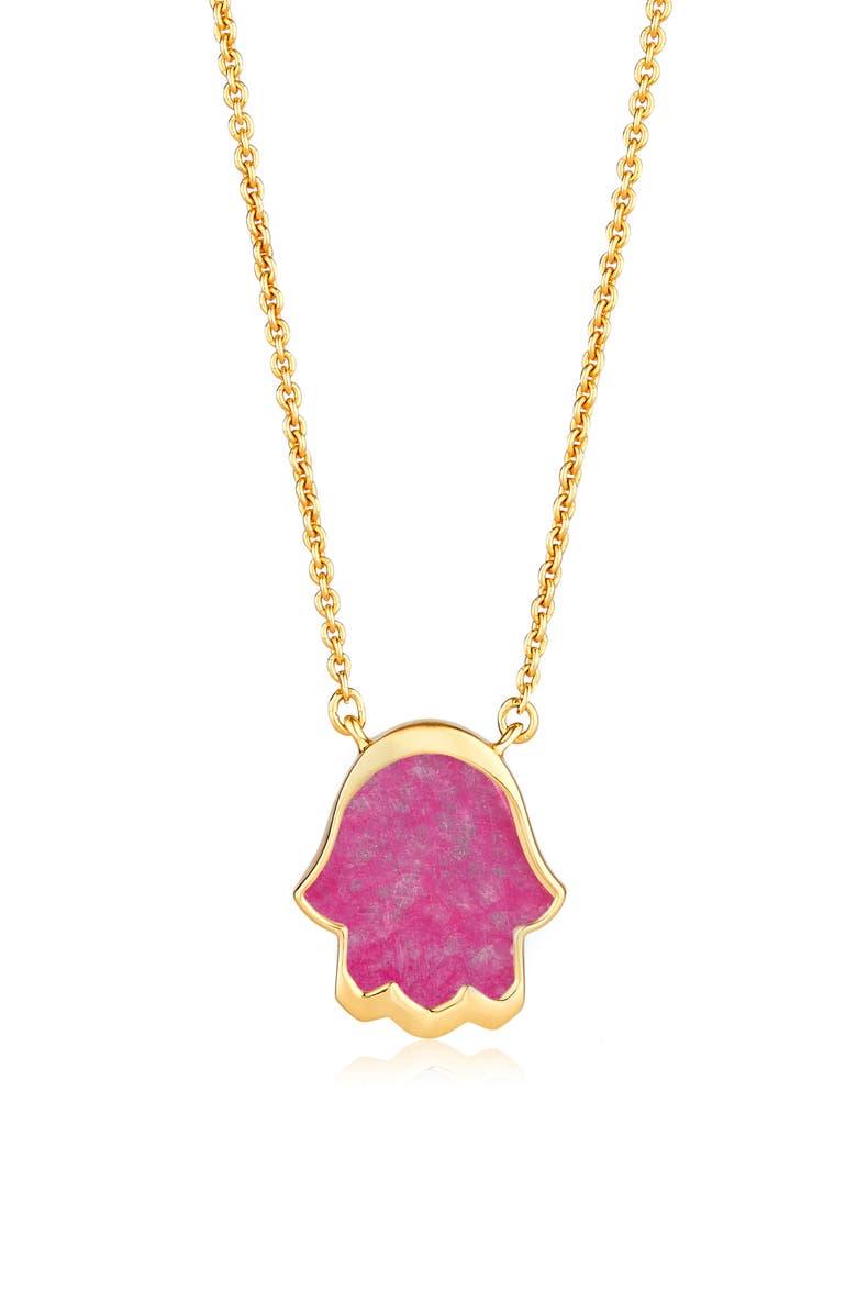 Monica Vinader Atlantis Hamsa Stone Pendant Necklace