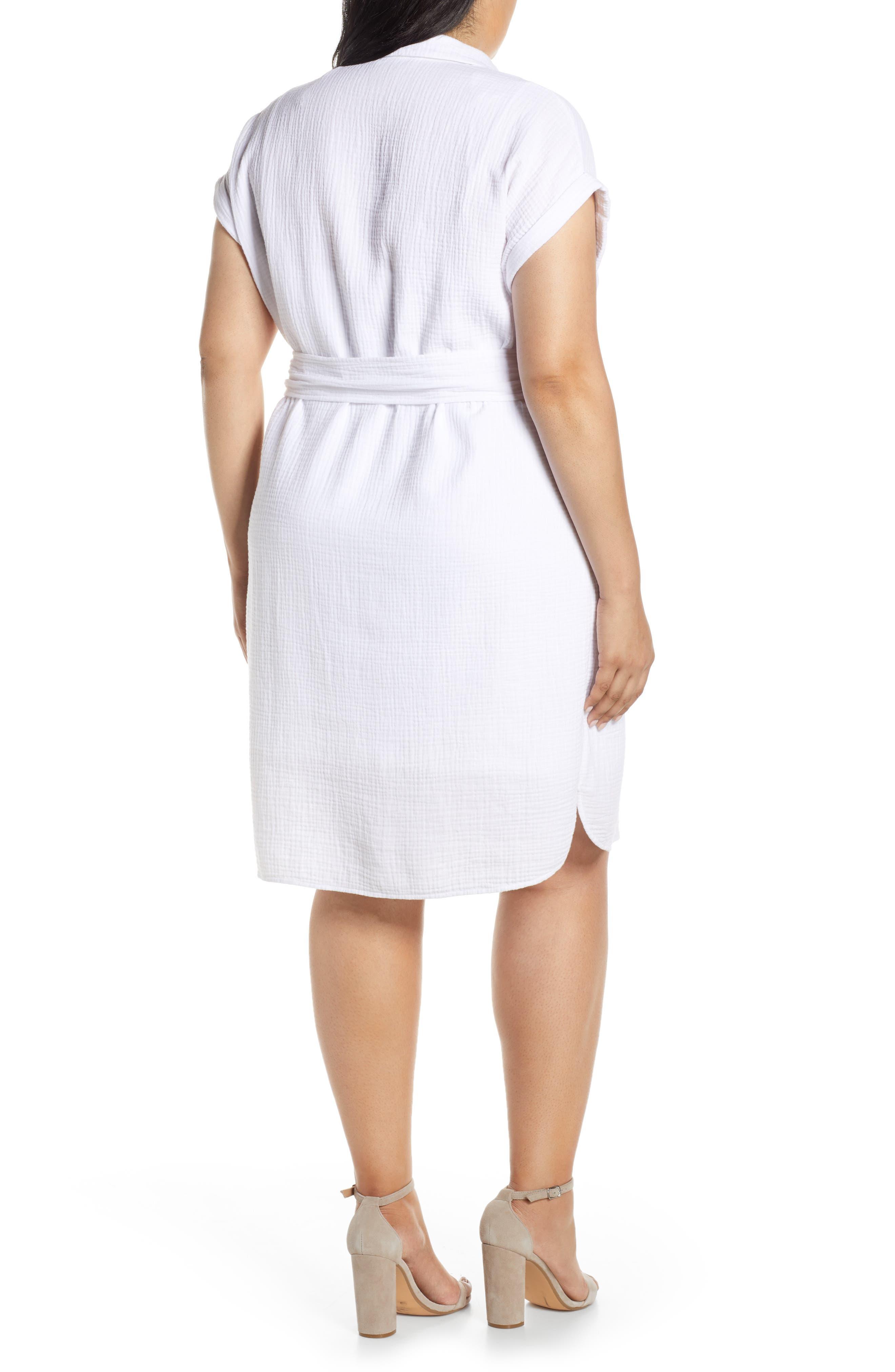 ,                             Asymmetrical Button Down Shirtdress,                             Alternate thumbnail 2, color,                             145 ULTRA WHITE