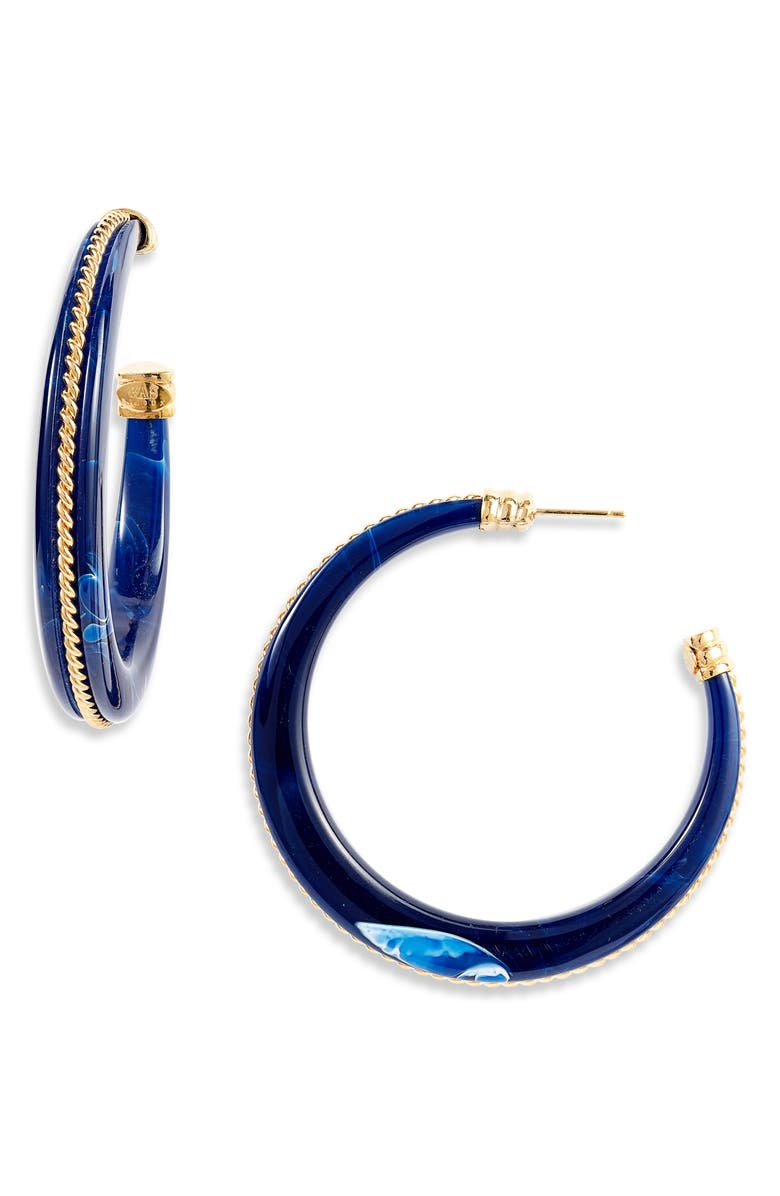 GAS BIJOUX Cascade Torsade Hoop Earrings, Main, color, BLUE