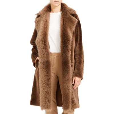 Theory Jathan Hollice Genuine Shearling & Leather Long Coat, Brown