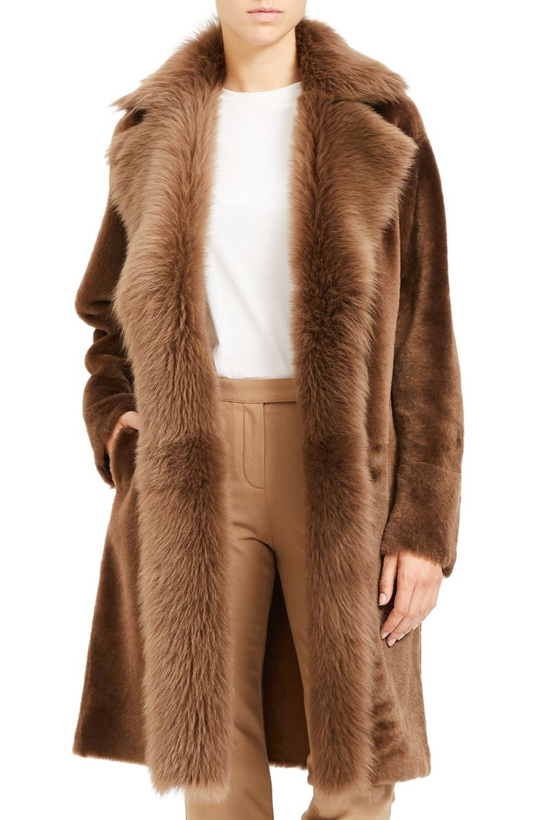 THEORY Jathan Hollice Genuine Shearling & Leather Long Coat, Main, color, 210