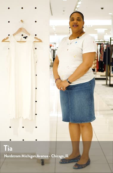 Eyelet Trim Sleeveless Knit Dress, sales video thumbnail