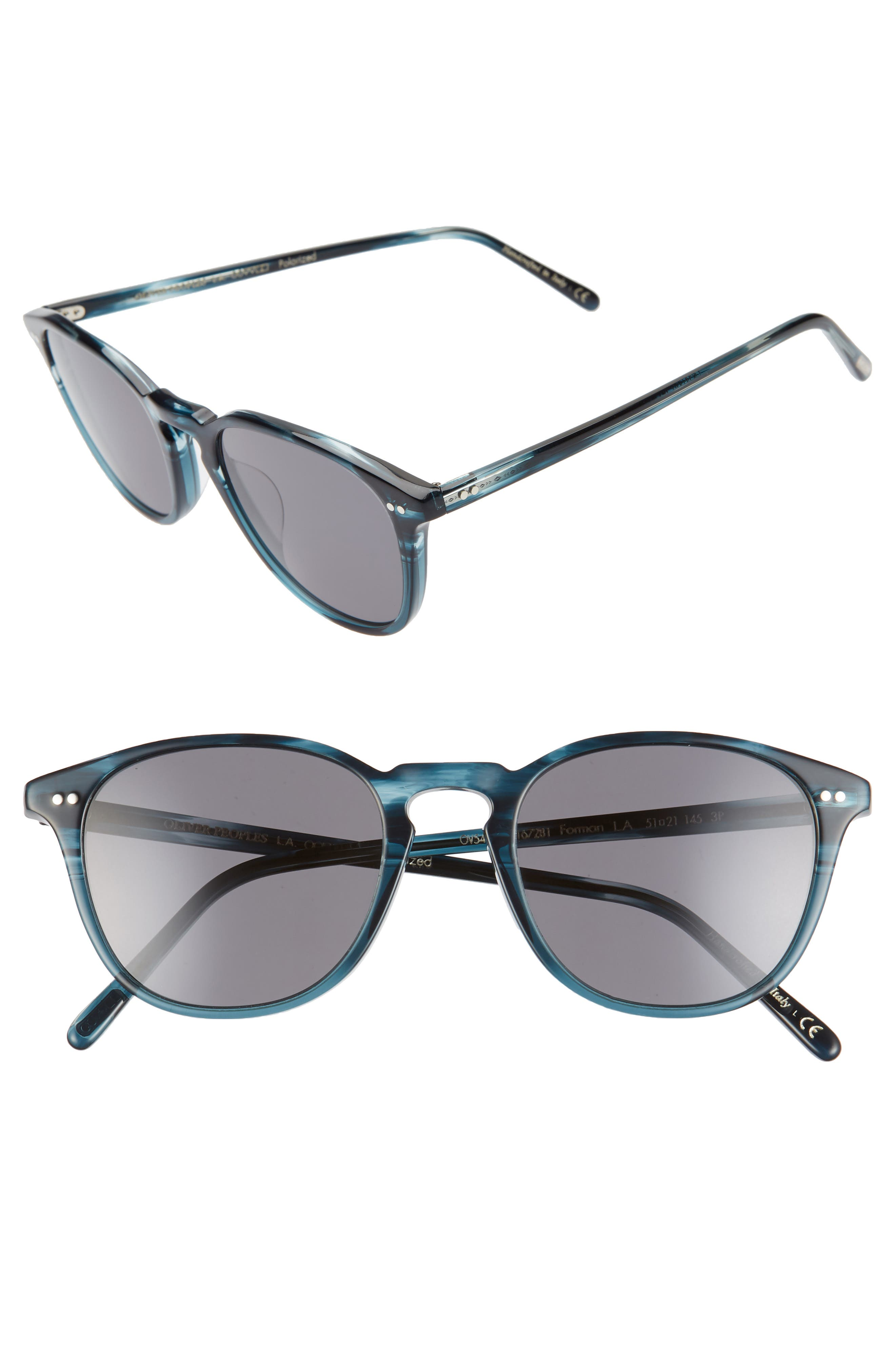 Oliver Peoples Forman L.a. 51Mm Polarized Round Sunglasses - Teal/ Grey