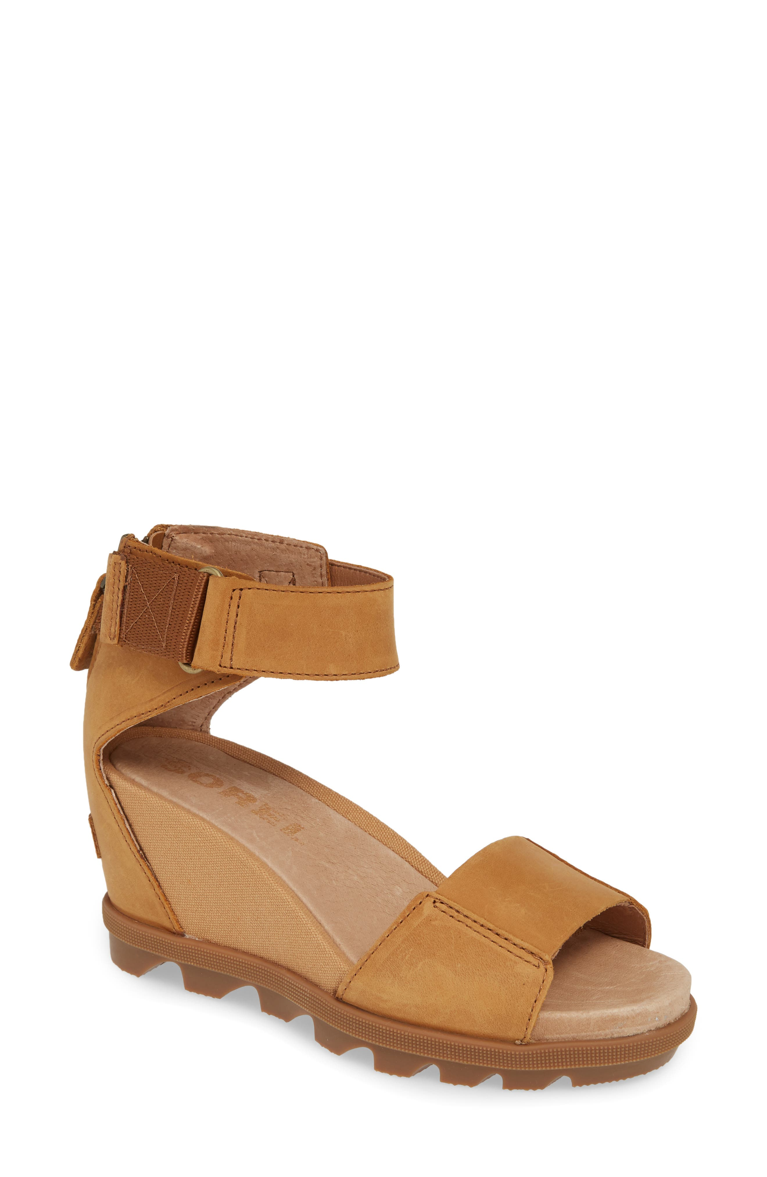 Sorel Joanie Ii Ankle Strap Wedge Sandal, Brown