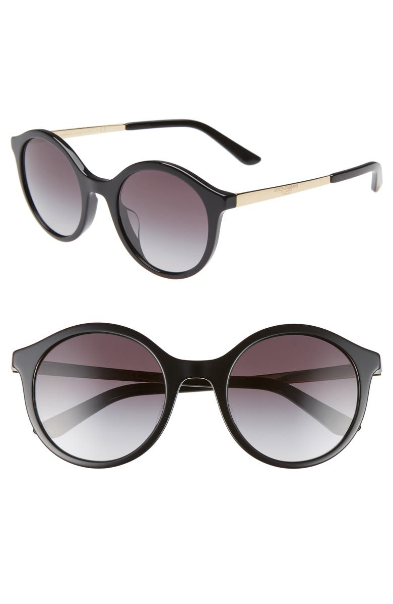 DOLCE&GABBANA 51mm Gradient Round Sunglasses, Main, color, BLACK/ GOLD
