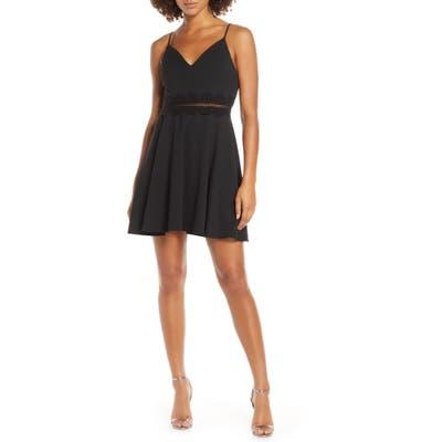Sequin Hearts Embellished Waist Scuba Crepe Party Dress, Black