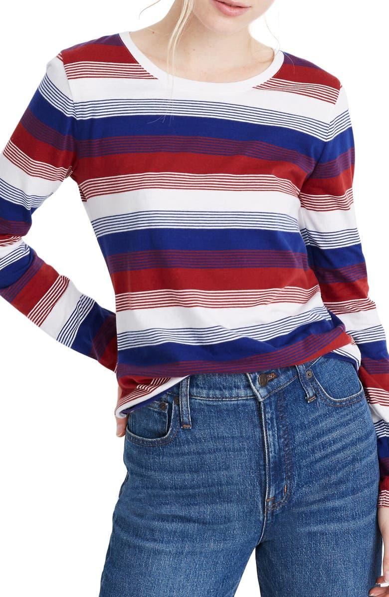 MADEWELL Northside Gene Stripe Long Sleeve Tee, Main, color, ANTIQUE CREAM FLATIRON STRIPE